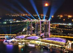Singapore: Sand bays Light show Singapore Attractions, Bay Lights, Night Show, City State, Southeast Asia, All Over The World, Marina Bay Sands, Travel Destinations, Island