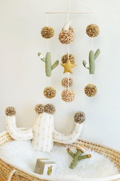 Cactus Mobile, Desert Night Nursery Mobile, Gender Neutral Nursery Mobile, Boho Baby Nursery Mobile, Pom Pom Mobile - Made to Order Baby Nursery Neutral, Boho Nursery, Nursery Room, Girl Nursery, Nursery Decor, Babies Nursery, Nursery Ideas, Bedroom, Baby Boy Rooms