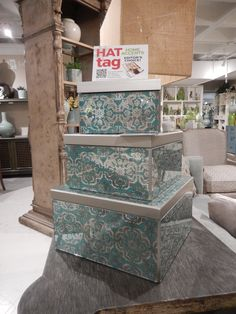 A teal mosaic pattern is reverse-painted on glass to create these decorative boxes by Peninsula Home. #HATtag #atlmkt