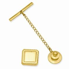 """NEW KELLY WATERS GOLD PLATED POLISHED SQUARE TIE TACK ENGRAVABLE 0.47"""" X 0.47"""" #KellyWaters"""