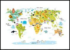 världskarta djur poster
