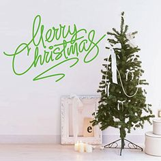 Green Large Window Festival Santa Merry Christmas Wall Sticker Vinyl Decal Art Decoration >>> To view further for this item, visit the image link.