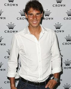 Rafael Nadal poses as he arrives at the IMG players' party at Crown Towers in Melbourne on Sunday.