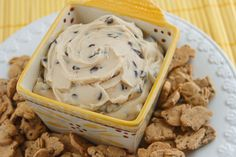 Chocolate Chip Cookie Dough Dip  Print  Ingredients  1/2 cup butter, melted  1/4 cup brown sugar  1 tsp vanilla  1/2 tsp salt  1 (8 oz) block cream cheese, softened  1 cup confectionary sugar  1/2 cup mini chocolate chips