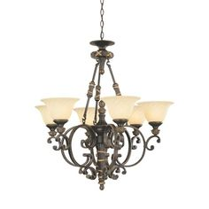 Reed And Ribbon Burnished Umber Six-Light Chandelier