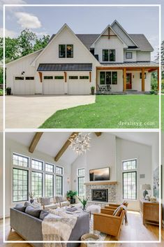 Take a virtual tour of this custom modern farmhouse. It has an open concept floor plan with vaulted and beams in ceiling, gourmet white kitchen with butlers pantry and walk in pantry, lots of bedrooms Modern Farmhouse Interiors, Modern Farmhouse Plans, Modern Farmhouse Kitchens, Farmhouse Decor, Farmhouse Interior Doors, White Farmhouse Exterior, Farmhouse Lighting, Farmhouse Furniture, Country Kitchen