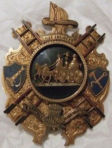 "re badge. Inscribed ""To CHIEF ENGINEER, Thomas Kevill. As a tribute of esteem & respect from the officer's & members of the Norfolk Va FIRE DEPT., Dec 11th 1882″."