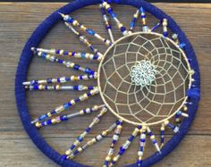 Super unique and detailed this dream catcher is sure to bring you the sweetest dreams! blue ring with crescent moon shape and lovely glass beads centered with a beautiful yellow dream catcher with a gem for the center! Dream Catcher Mandala, Dream Catcher Boho, Dream Catchers, Dream Catcher Mobile, Dream Catcher Craft, Los Dreamcatchers, Crafts To Make, Arts And Crafts, Dream Catcher Tutorial