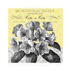 Modern Vintage graphic floral stretched canvas Canvas Prints