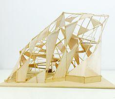 Maqueta final. Corte 1:50 con resolución arquitectónica. Parametric Architecture, Pavilion Architecture, Urban Architecture, Zaha Hadid, Fabric Structure, Bothy, Arch Model, Beach Design, Taxi