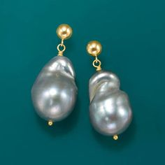 These 15-16mm free-form cultured baroque pearl earrings are gracefully accented with 14kt yellow gold bead toppers. >> Click the pin to shop the Ross-Simons Baroque Pearl Earring collection. #baroque #pearl #earrings #gray #unique