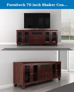 Furnitech 70 inch Shaker Console - (Dark Cherry Finish). 72 inch Shaker Style TV Entertainment Console for Plasma/LCD Installations, 4 Wood Framed Smoked Tempered Glass Doors, 4 Adjustable Shelves, Center Channel Speaker Drawer, 2 Media Storage Drawers, Internal Wire Management, Center Leg Support with Levelers and Ventilated Removable Back Panels.