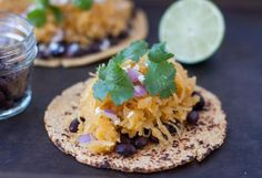spaghetti squash tacos - I'd say this is a pretty average recipe. Despite adding all of the lime juice and spice mixture to flavor the squash, the tacos were fairly one-dimensional. The fresh cilantro saves it! Carnitas, Quesadillas, Enchiladas, Guacamole, My Recipes, Favorite Recipes, Free Recipes, Chili Spices, Food Cakes