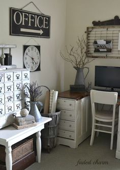 Home Office Decor. Home office and home study styling options, which include tips on a smaller place, desk ideas, themes, and units. Create a workspace at your house you won't ever mind getting work carried out in. 82544084 5 Home Office Decorating Ideas Cottage Office, Farmhouse Office, Rustic Office, Home Office Decor, Home Decor, Office Ideas, Bedroom Office, Desk Ideas, Farmhouse Style