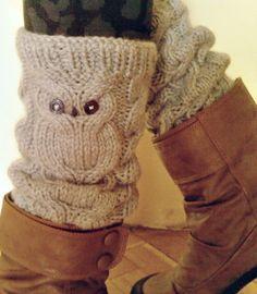 Owl Hand Knit Soft Warm  Leg Warmers in Grey by nastiadi on Etsy, $39.00