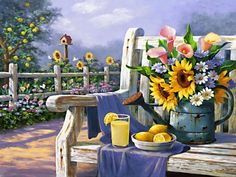 Diy Oil Painting Paint by Number Kit for Adults Beginner inch - Beautiful Flower Garden, Drawing with Brushes Christmas Decor Decorations Gifts (Frame) Framed Canvas Prints, Canvas Frame, Easy Paintings, Landscape Paintings, Flower Garden Drawing, Belle Image Nature, Arte Country, Paint By Number Kits, Beautiful Flowers Garden