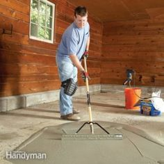 Restore a pitted concrete garage floor with an easy-to-apply resurfacing product. It'll make the floor look fresh and new again at a modest price. For our Basement and Garage? Garage Floor Resurfacing, Concrete Resurfacing, Garage House, Diy Garage, Garage Doors, Garage Shop, Small Garage, Garage Walls, Garage Floor Paint