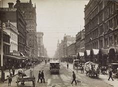 Elizabeth Street, Melbourne, looking north from Flinders Street, c1900. Photograph from State Library Victoria.