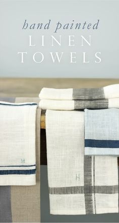 Make Your Own Hand Painted Linen Kitchen Towels.  Love this idea.