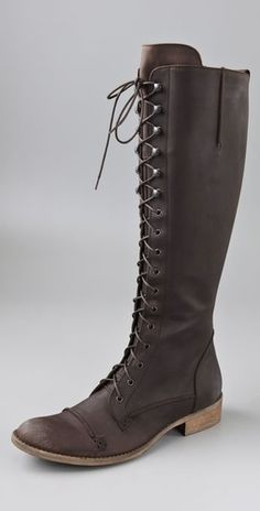 Charles David Regiment Lace Up Flat Boots