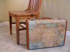 Vintage Suitcase Decoupaged with Maps by DestinationsVintage