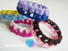 Ravelry: Colorful Bangles pattern by Erangi Udeshika Scrap Yarn Crochet, Crochet Gifts, Crochet Jewelry Patterns, Crochet Accessories, Crochet Jewellery, Quick Crochet, Diy Crochet, Love Knitting, Crochet Bracelet