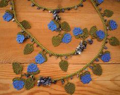 Yellow flower necklace crochet oya necklace by PashaBodrum on Etsy Crochet Bib, Hand Crochet, Crochet Lace, Crochet Necklace, Red Necklace, Flower Necklace, Lariat Necklace, Bleu Turquoise, Lace Jewelry