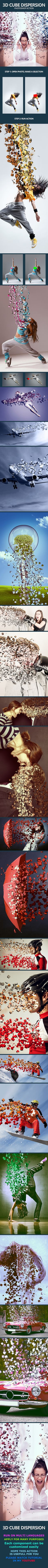 Cube Dispersion Photoshop Action Creates An Amazing Effect Helpful For Your Design