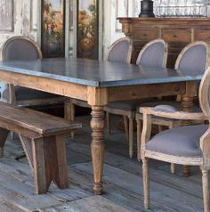 The Annabelle, the perfect gathering place for your farmhouse family. Zinc top farm table.  Warm finished wood combined with cool aged zinc.