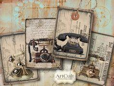 OLD+PHONE++Digital+Collage+Sheet+Printable+jpg+images+by+ArtCult,+$4.90