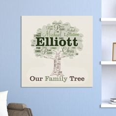 Personalized Family Tree Canvas | Family Wall Art with Custom Names