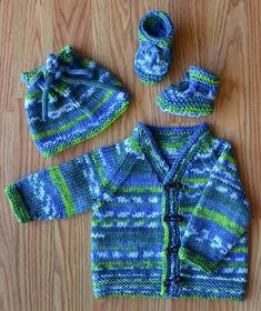 Free Knitting Pattern for Munchkin Baby Set - Self-striping yarn creates the color patterns in this set of baby cardigan, hat, and booties. Fits Newborn-12 months. Designed by Universal Yarn