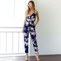 V Neck Floral Jumpsuit available www.atheosfashion.com