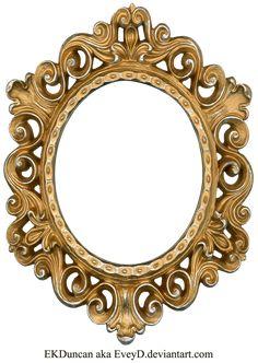 Vintage Gold and Silver Frame - Oval by EveyD.deviantart.com on @deviantART