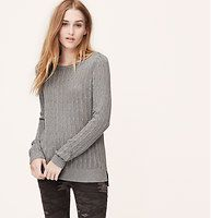 Ribbed Open Stitch Sweater - A soft ribbed knit lightens up with open stitching and neutral hues. Ballet neck. Long sleeves. Ribbed neckline, cuffs and hem.