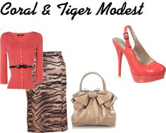 """Coral & Tiger Modest Outfit"" by mishashawnea96 ❤ liked on Polyvore"