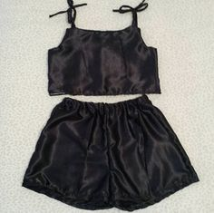 Black silk satin two piece with tie strap crop top and high waisted shorts. Silk Romper, Silk Shorts, Rave Festival Outfits, Silk Pajamas, Black Silk, Silk Satin, Diy Clothes, Lounge Wear, Nice Dresses