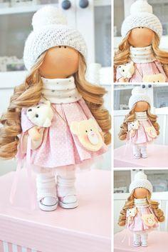 Fabric doll Interior doll Tilda doll Muñecas Baby doll Puppen Bambole Handmade doll Bonita doll Textile doll Pink doll Nursery doll by Aleya