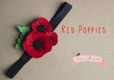 Red Poppies Headband Elastic Hair Band by Little Magic Pieces