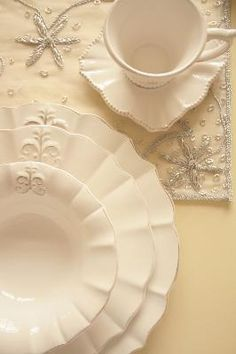 """Beautiful White """"Fleur de Lis"""" Dishes.,,,,,look at the saucer !...We have the Fleur de Lis glass ware and silver.....must fine these plates ! ! ! !  ~"""