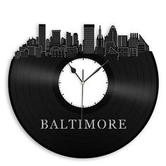 "Baltimore City Skyline Clock DIMENSIONS: Clock measures 12 in diameter. Package is 13"" x 13"" CREATIVE GIFT Skyline clock is a thoughtful, one-of-a-kind, gift for any occasion. Choose this meaningful gift for the special someone in your life and it's sure to please. With our large"