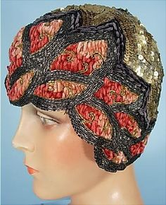 c. 1920's Made in France Exceptional Gold Sequin and Beaded Cloche with Chenille