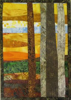 Art Quilt Autumn Trees Small 2 Wall Hanging Wall Quilt