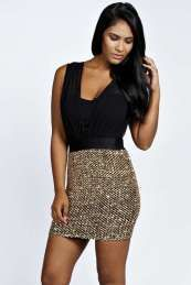 Boutique Tilly Pleated Sequin Dress