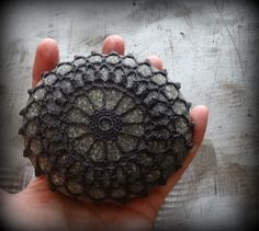 Crochet Lace Stone Charcoal Thread Table Decoration by Monicaj