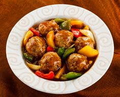 meatballs with onion, pepper and pineapple