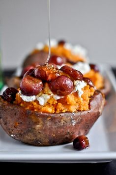 Sweet potatoes with goat cheese, honey & roasted grapes for Thanksgiving
