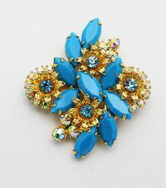 Vintage Brooch Juliana Turquoise Color