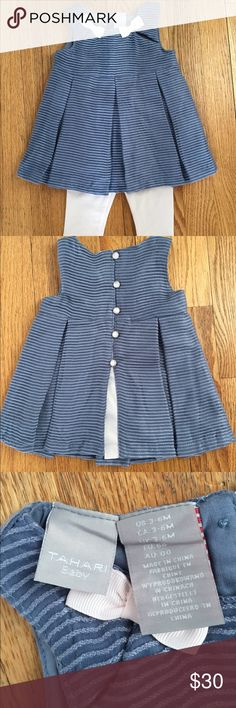 NWOT TAHARI Baby Dress and Leggings Never been worn dress! My daughter is unfortunately too big for this dress. It's adorable and so soft! Leggings are stretchy and seem great. Dress has very cute details. TAHARI Baby Dresses Formal