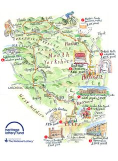 Michael A. Hill - Heritage Lottery Fund commissioned map for the Tour de France 2014 in Yorkshire